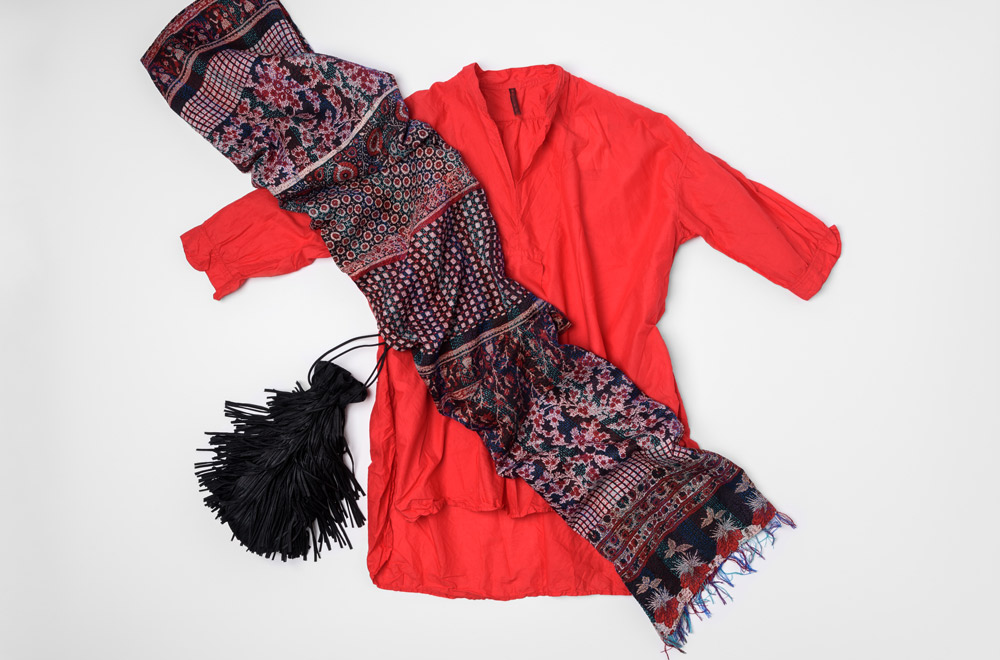 Daniela Gregis Red Cotton Shirt, Issey Miyake Pleats Please Fringe Bag, and Mieko Mintz Silk/Cotton Patchwork Scarf | Santa Fe Dry Goods & Workshop