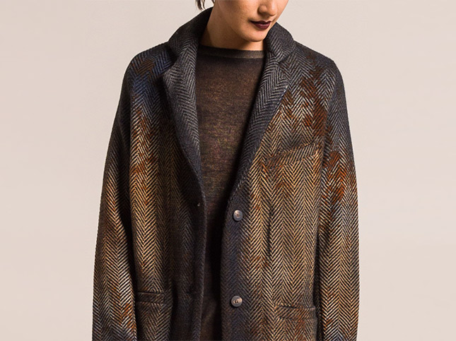 New Avant Toi Splatter Dyed, Ombre Herringbone Blazer in Cocoa Brown | Santa Fe Dry Goods & Workshop
