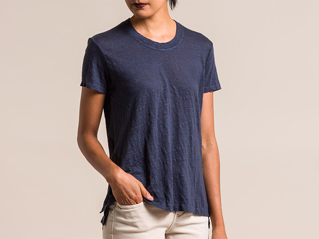New Wilt Linen A-Line Short Sleeve Dark Slate Tee | Santa Fe Dry Goods & Workshop