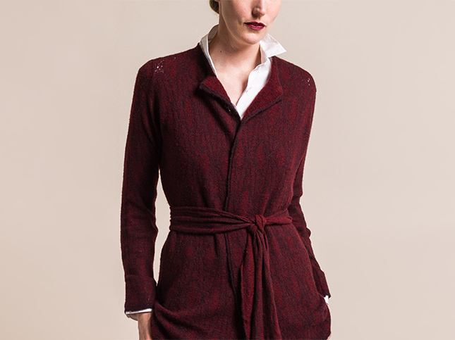 New Lainey Keogh Cashmere Belted Illusion Burgundy Cardigan | Santa Fe Dry Goods & Workshop