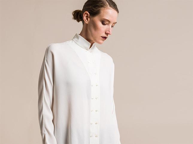 New Akris Silk Long Sleeve Blouse in Crema White | Santa Fe Dry Goods & Workshop