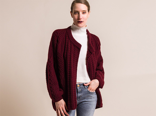 New Hania by Anya Cole Dark Red Handknit Cashmere Short Swanilda Cardigan