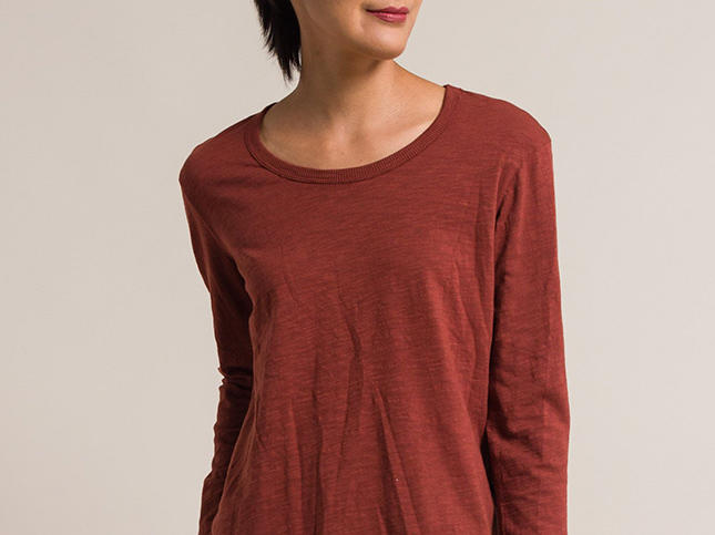 New Wilt Red Long Sleeve Shrunken Pointed Hem Tee | Santa Fe Dry Goods & Workshop