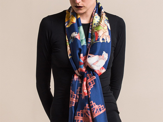 New Roi Du Lac Navy Silk Printed Scarf Flamingo