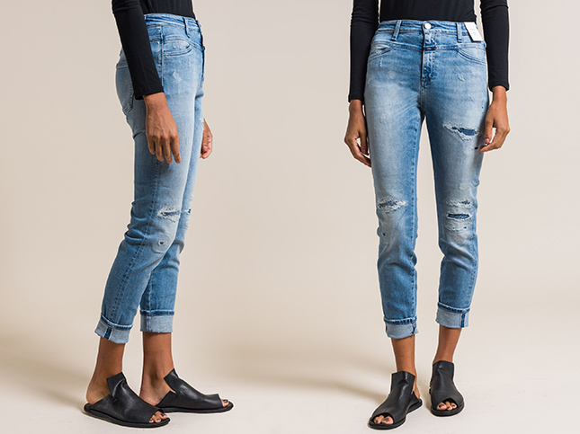 New Closed Jeans Skinny Pusher Distressed High-Rise Jeans in Vintage | Santa Fe Dry Goods & Workshop