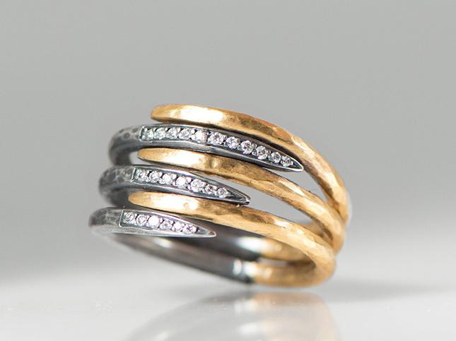 Like Behar 8-Layer Zebra 24K Gold, Sterling Silver, and Diamond Ring | Santa Fe Dry Goods & Workshop