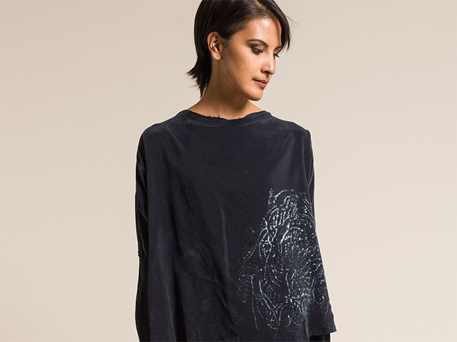 Jaga Hand-Painted Long Sleeve Top in Black | Santa Fe Dry Goods & Workshop
