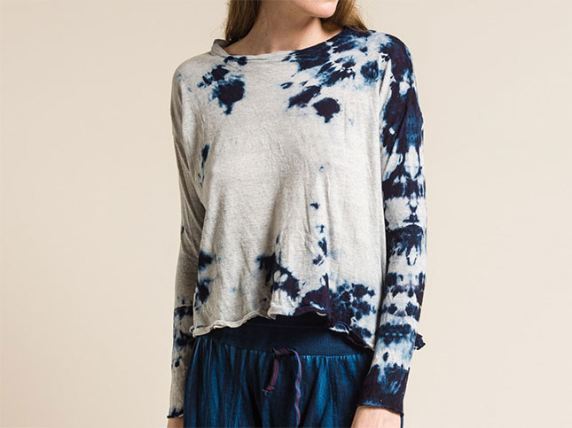 Gilda Midani Long Sleeve Straight Trapeze Tee in Blue Stain | Santa Fe Dry Goods & Workshop