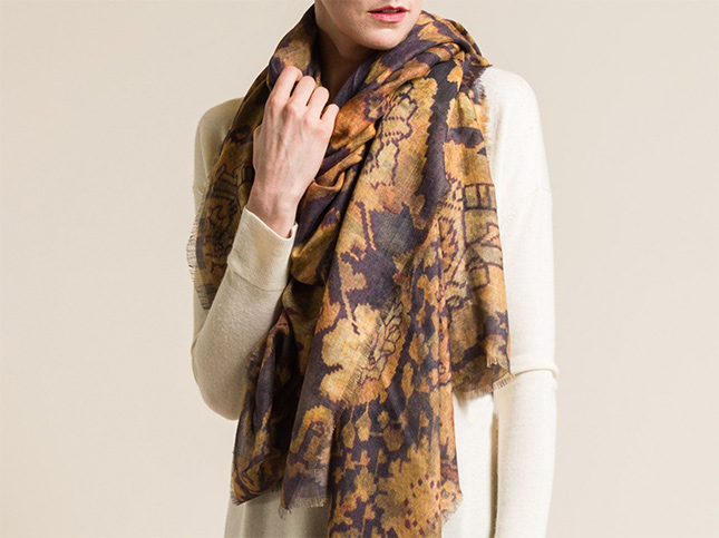 Alonpi Cashmere/Silk Printed Scarf in Club Peach | Santa Fe Dry Goods & Workshop