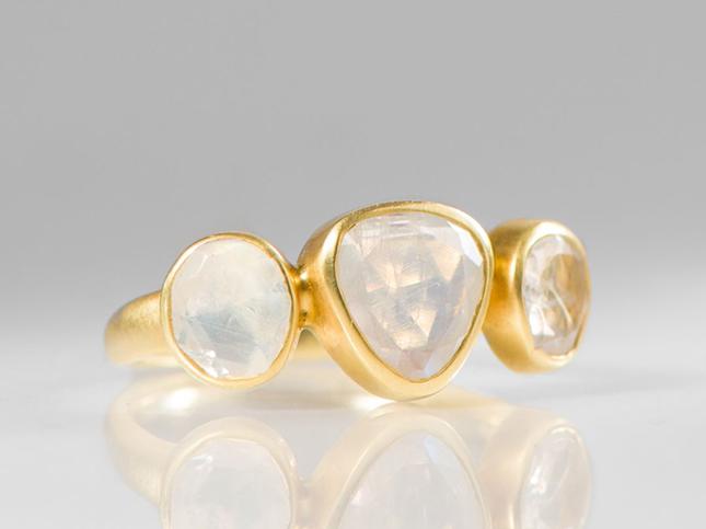 Pippa Small 18K, Rainbow Moonstone 3 Stone Greek Ring | Santa Fe Dry Goods & Workshop