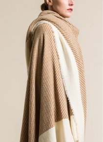 Alonpi Cashmere Vicuna Wool and Cashmere Tritora Throw in Natural