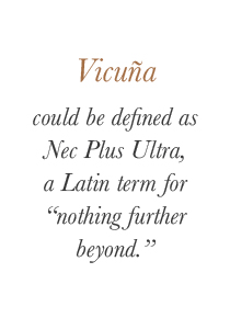"Vicuña could be defined as Nec Plus Ultra, a Latin term for ""nothing further beyond."" 