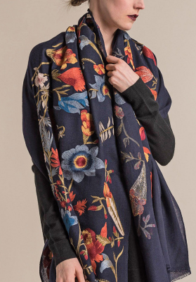 Janavi Cashmere Intricate Floral Embroidery Scarf in Navy | Santa Fe Dry Goods & Workshop
