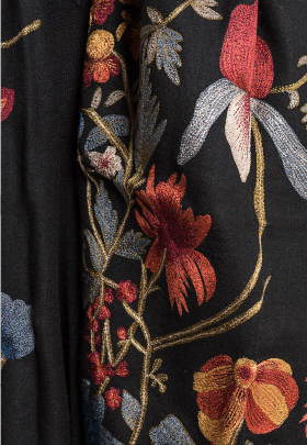 Janavi Cashmere Intricate Floral Embroidery Scarf in Black | Santa Fe Dry Goods & Workshop