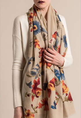 Janavi Cashmere Intricate Floral Embroidery Scarf in Light Natural | Santa Fe Dry Goods & Workshop