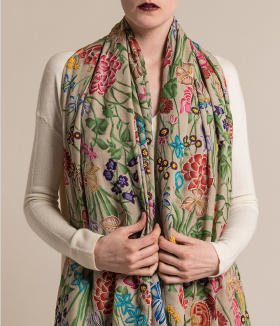 Janavi Hand Painted Cashmere and Silk Embroidery Scarf in Light Natural | Santa Fe Dry Goods & Workshop
