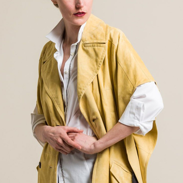Brunello Cucinelli Double-Breasted Suede Belted Overcoat in Camomile Yellow | Santa Fe Dry Goods & Workshop