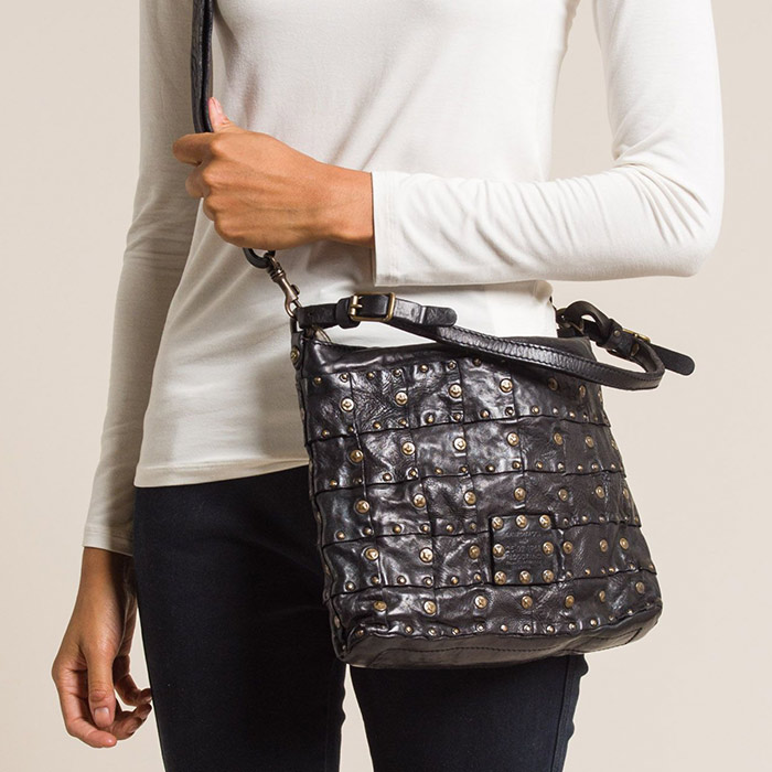 Campomaggi Leather and Rivet Patchwork Shoulder Bag in Black | Santa Fe Dry Goods & Workshop