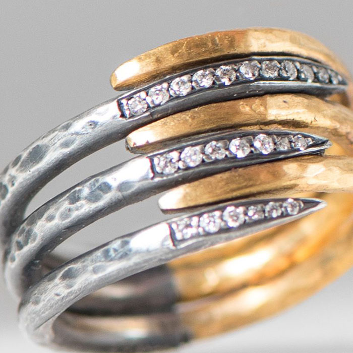 Lika Behar 24K Gold and Oxidized Sterling Silver 6-Layer Zebra and Diamond Ring | Santa Fe Dry Goods & Workshop