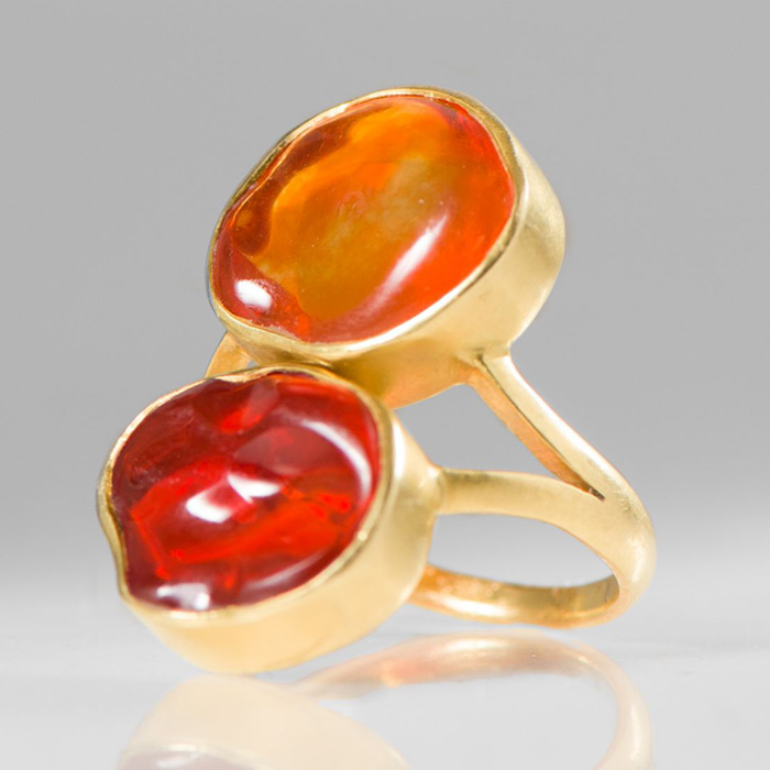 Pippa Small 18K Gold & Fire Opal Double Greek Ring | Santa Fe Dry Goods & Workshop