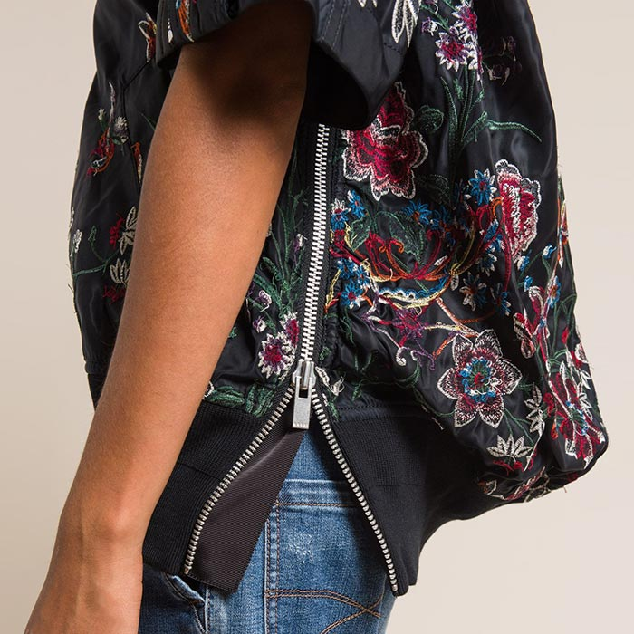 Sacai Floral Embroidered Top in Black | Santa Fe Dry Goods & Workshop