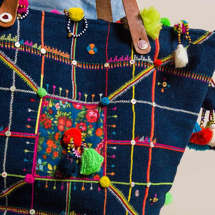 Pero Embroidered Cotton with Tassels and Bells Tote Navy | Santa Fe Dry Goods & Workshop