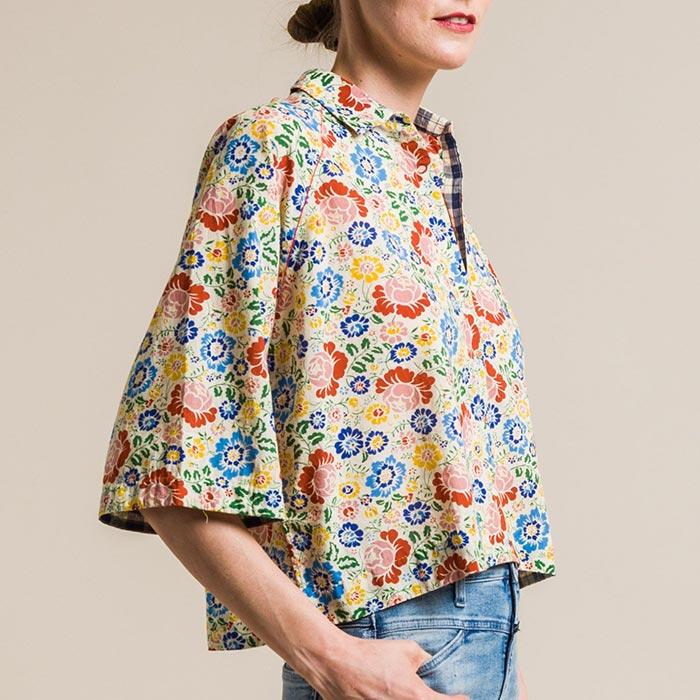 Péro Floral Cotton Short Oversize Shirt in Natural | Santa Fe Dry Goods & Workshop