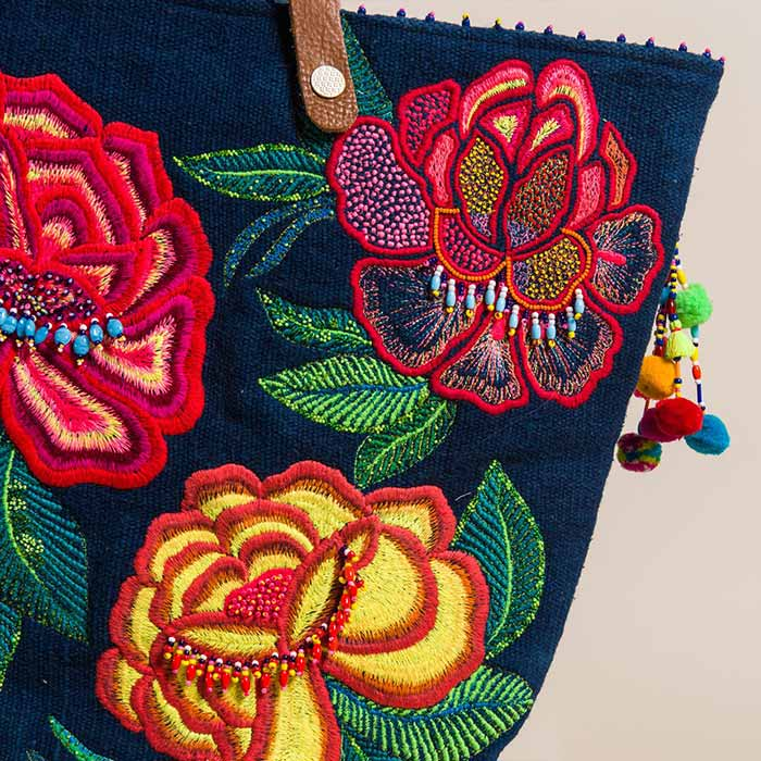 New Pero Cotton Floral Embroidered and Beaded Tote Navy | Santa Fe Dry Goods & Workshop