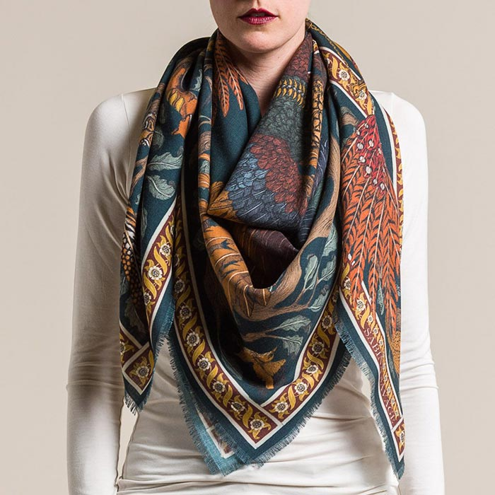 New Sabina Savage Wool/Silk Pheasant Tree Scarf in Forest/Saffron | Santa Fe Dry Goods & Workshop