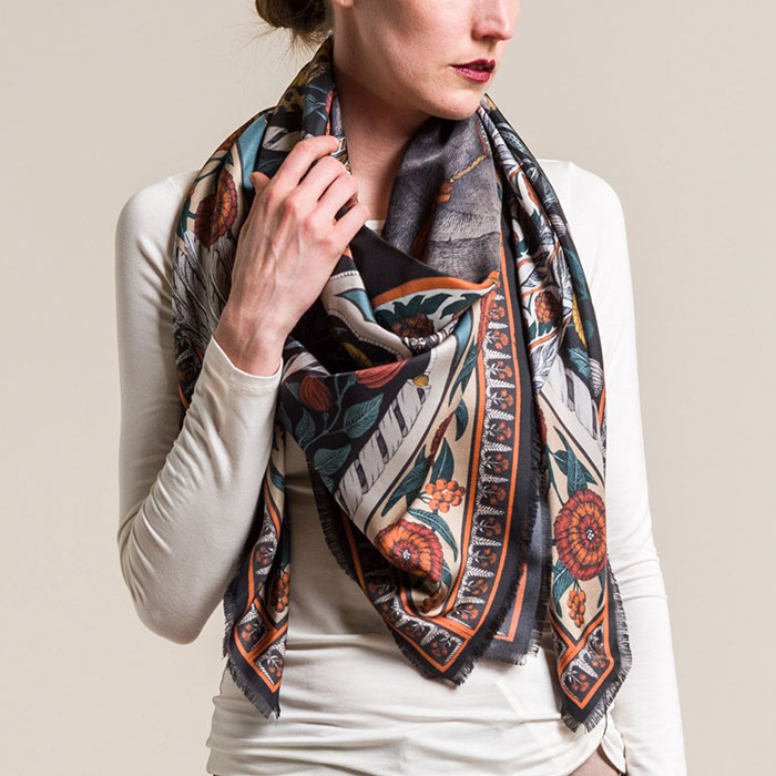 New Sabina Savage Silk Twill Tipu's Hound Scarf in Coal/Cumin | Santa Fe Dry Goods & Workshop