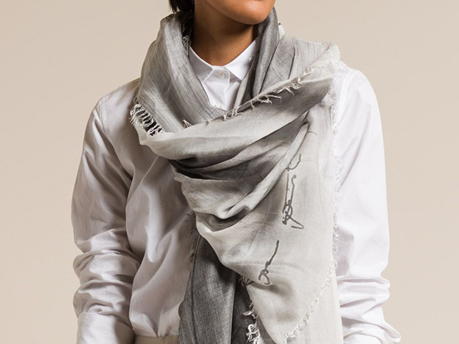 Annette Gortz Modal Striped Jien Scarf in Ash | Santa Fe Dry Goods & Workshop