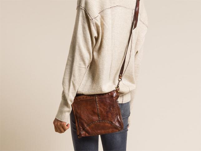 Campomaggi Small Studded Shoulder Leather Bag in Cognac Brown | Santa Fe Dry Goods & Workshop