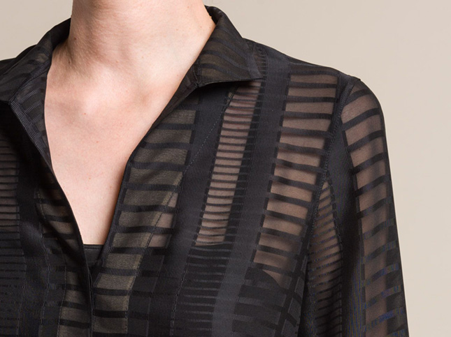 Akris Silk Sheer Long Shirt in Black | Santa Fe Dry Goods & Workshop