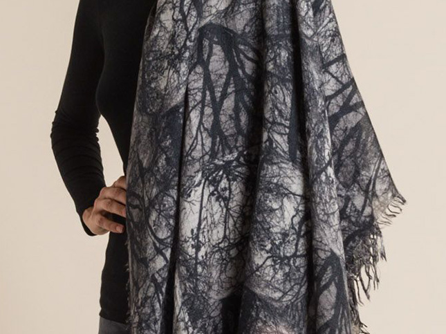 Faliero Sarti Cashmere/Silk Woods Print Scarf Black/Grey | Santa Fe Dry Goods & Workshop