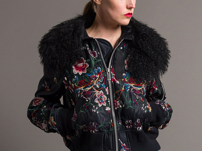 Sacai Lamb Collar Embroidered Jacket in Black | Santa Fe Dry Goods & Workshop