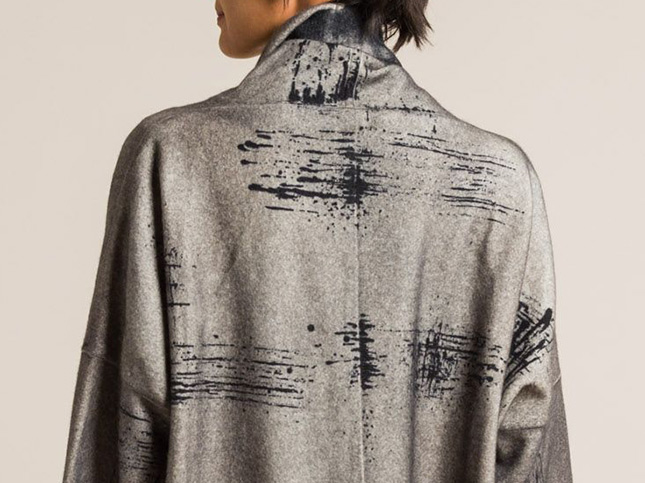 Avant Toi Scratches Dyed Distressed Long Jacket in Corda Grey | Santa Fe Dry Goods & Workshop