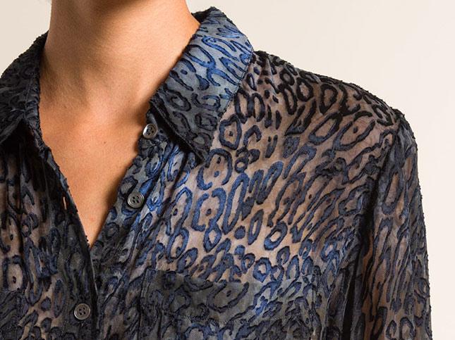 Raquel Allegra Velvet/Sheer Relaxed Shirt in Ink Blue | Santa Fe Dry Goods & Workshop