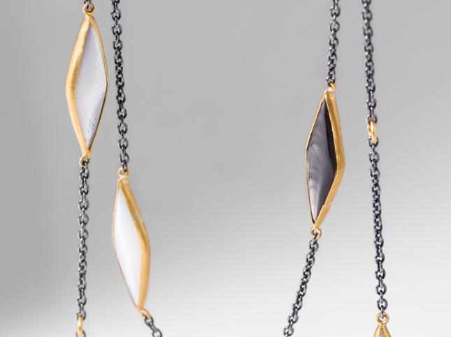 Lika Behar 24K Gold, Oxidized Silver, and Kara Pearl Necklace | Santa Fe Dry Goods & Workshop