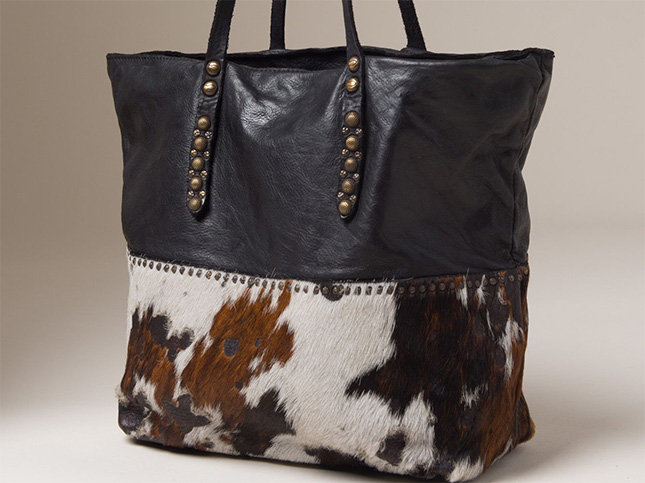 Campomaggi Leather & Cowhide Tote in Black | Santa Fe Dry Goods & Workshop