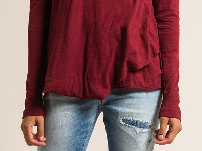 Wilt 2-Ply Fine Cotton Long Sleeve Easy Tee in Beet Red | Santa Fe Dry Goods & Workshop