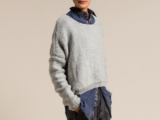 Umit Unal Wool Oversized Sweater in Grey | Santa Fe Dry Goods & Workshop