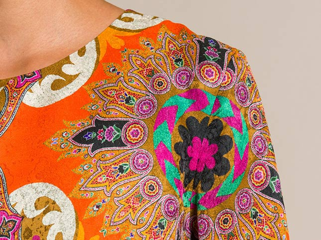 Etro Jacquard Paisley & Floral Tunic in Orange | Santa Fe Dry Goods & Workshop