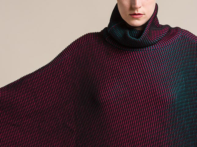 Issey Miyake Auroral Poncho Style Sweater in Turquoise/Red | Santa Fe Dry Goods & Workshop