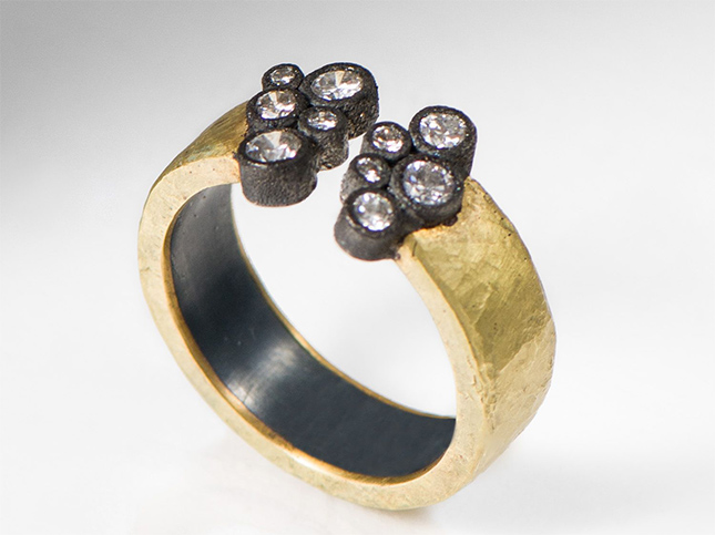 Tap by Todd Pownell 18K Gold & Oxidized Silver, Diamond Open Hammered Band Ring | Santa Fe Dry Goods & Workshop