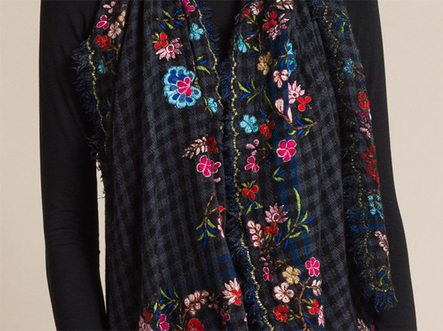 Faliero Sarti Mountain Embroidered Floral Scarf in Grey | Santa Fe Dry Goods & Workshop