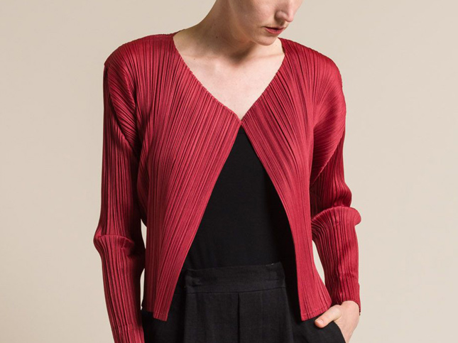 Issey Miyake Pleats Please Short Pleated Jacket in Red
