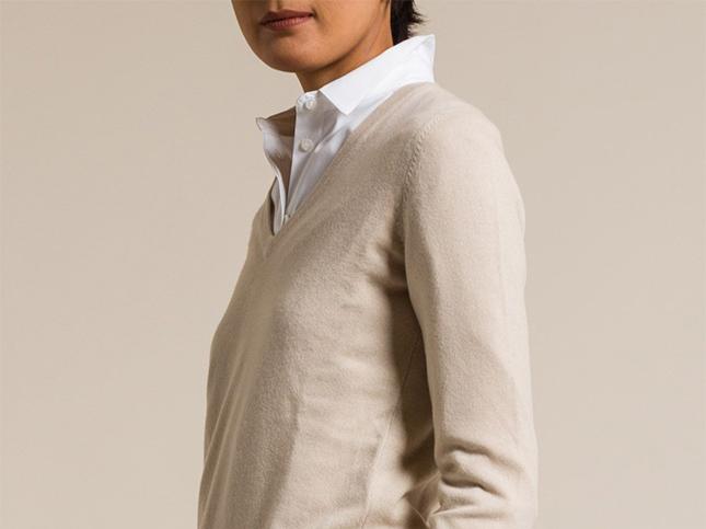 Brunello Cucinelli Cashmere V-Neck Sweater in Natural | Santa Fe Dry Goods & Workshop