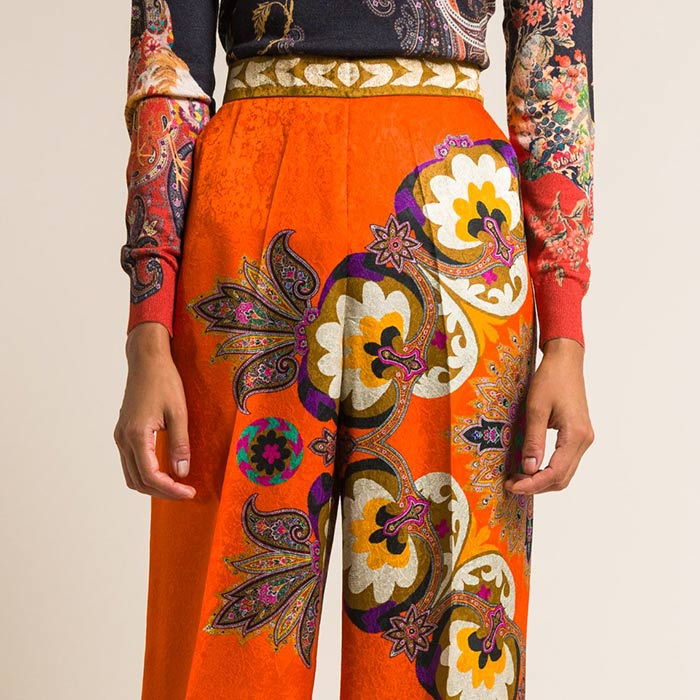 Etro Jacquard Paisley & Floral Wide Leg Pants in Orange