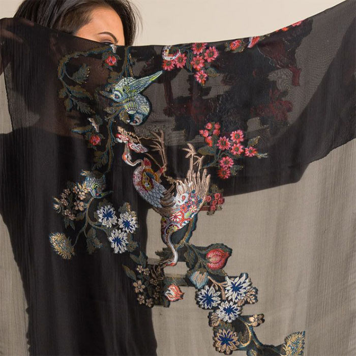 Etro Embroidered Sheer Bird Print Scarf in Black