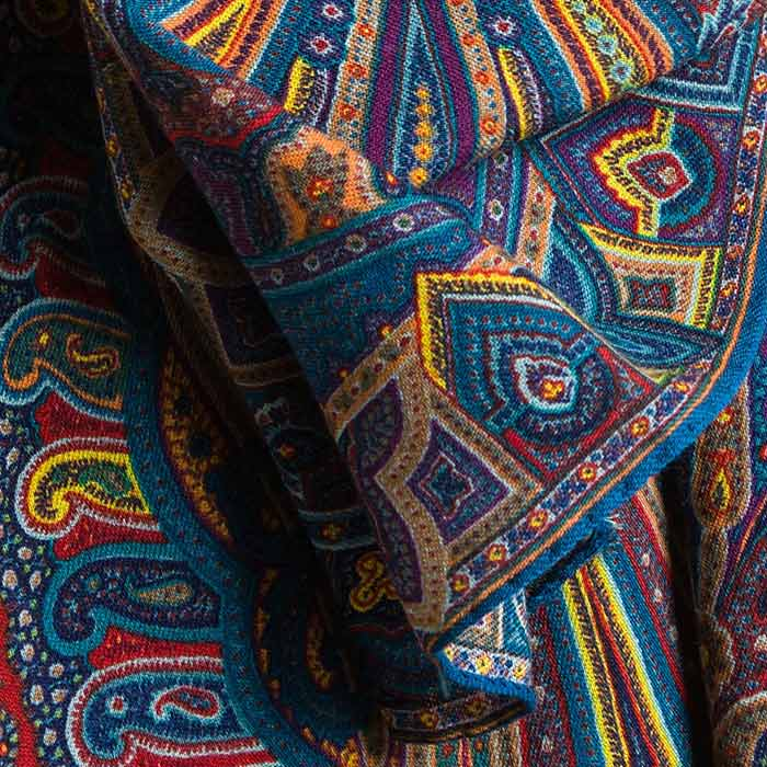 Etro Wool/Cashmere Rectangle Paisley Scarf in Blue/Red | Santa Fe Dry Goods & Workshop